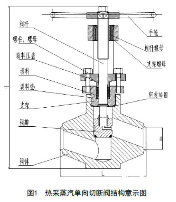 图1 热采蒸汽单向切断阀结构意示图